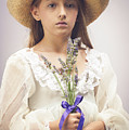 Young Girl With Lavender by Amanda Elwell