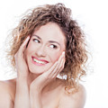 Young Smiling Woman With Curly Hair Portrait On White by Michal Bednarek