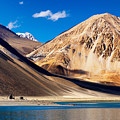 Mountains Pangong Tso Lake Leh Ladakh Jammu And Kashmir India by Rudra Narayan  Mitra