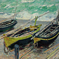 Three Fishing Boats by Claude Monet