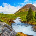 Nature Oil Canvas Landscape by World Map
