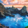 Landscape Oil Painting Nature by World Map