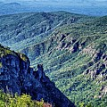 Hawksbill Mountain At Linville Gorge With Table Rock Mountain La by Alex Grichenko