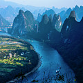 Karst Mountains And Lijiang River Scenery by Carl Ning