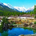 Nature Landscape Oil by World Map