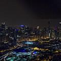 Chicago Night Skyline Aerial Photo by David Oppenheimer