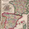 1800s France, Spain And Portugal County Map Color by Toby McGuire