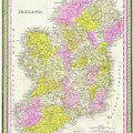 1850 Vintage Map Of Ireland by Bill Cannon