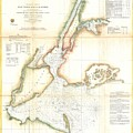 1857 Coast Survey Map Of New York City And Harbor by Paul Fearn
