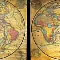 1858 Set Of Two Pelton Wall Maps, Western Hemisphere And Eastern Hemisphere  by Paul Fearn
