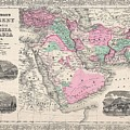1866 Johnson Map Of Arabia Persia Turkey And Afghanistan Iraq by Paul Fearn