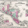 1866 Johnson Map Of Central America by Paul Fearn