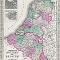 1866 Johnson Map Of Holland And Belgium by Paul Fearn