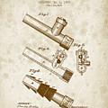 1885 Fire Escape Patent - Vintage Brown by Aged Pixel