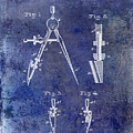 1888 Draftsmans Compass Patent Blue by Jon Neidert