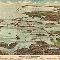 1899 View Map Of Boston Harbor From Boston To Cape Cod And Provincetown  by Paul Fearn