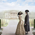 18th Century Georgian  Couple Looking Towards A Country Estate by Lee Avison