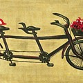18x36 Premium Gallery Tandem Bicycle Painting With Red Birds Red Flowers by Candice Griffy