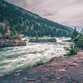 Kootenai River Water Falls In Montana Mountains by Alex Grichenko