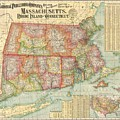 1900 National Publishing Railroad Map Of Connecticut Massachusetts And Rhode Island  by Paul Fearn