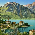 1900s Switzerland Swiss Alps Spiez Mit Ralligstoecke by Heidi De Leeuw