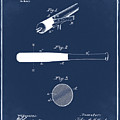 1902 Baseball Bat Patent In Blue by Bill Cannon