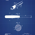 1902 Baseball Bat Patent In Blueprint by Bill Cannon