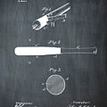 1902 Baseball Bat Patent In Chalk by Bill Cannon
