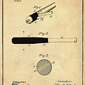 1902 Baseball Bat Patent In Sepia by Bill Cannon