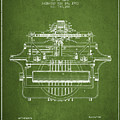 1903 Type Writing Machine Patent - Green by Aged Pixel