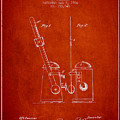 1904 Metronome Patent - Red by Aged Pixel