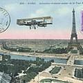 1911 Paris Eiffel Tower Colorized Postcard by Retro Graphics