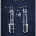 1920 Tuning Fork Patent - Navy Blue by Aged Pixel