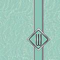 1920s Blue Deco Jazz Swing Monogram ...letter W by Cecely Bloom