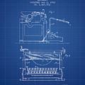 1923 Typewriter Screen Patent - Blueprint by Aged Pixel