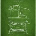 1923 Typewriter Screen Patent - Green by Aged Pixel