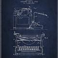 1923 Typewriter Screen Patent - Navy Blue by Aged Pixel