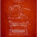 1923 Typewriter Screen Patent - Red by Aged Pixel