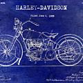 1928 Harley Davidson Patent Drawing Blue by Jon Neidert