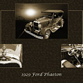 1929 Ford Phaeton Classic Car Antique Collage In Red Sepia 3515. by M K Miller