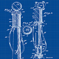 1930 Gas Pump Patent In Blue Print by Bill Cannon