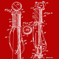 1930 Gas Pump Patent In Red by Bill Cannon