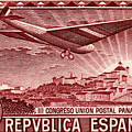 1931 Airplane Over Madrid Spain Stamp by Historic Image