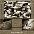 1933 Chevrolet Chevy Sedan Classic Car Collage In Color 3516.02 by M K Miller