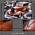 1933 Chevrolet Chevy Sedan Classic Car Collage In Sepia 3516.01 by M K Miller