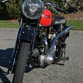 1934 Ariel Motorcycle Front View by Robert Torkomian