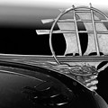 1934 Plymouth Hood Ornament Black And White by Jill Reger