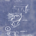 1936 Toilet Bowl Patent Blue Grunge by Bill Cannon