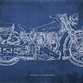 1939 Brough Superior Ss100 Blueprint Blue Background by Drawspots Illustrations