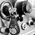 1948 Mg Tc Key Ring Black And White by Jill Reger
